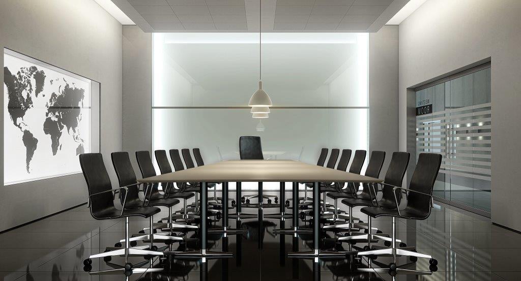 Alt inne innredning av møterom